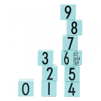 Wooden Building Cubes - Turquoise Numbers