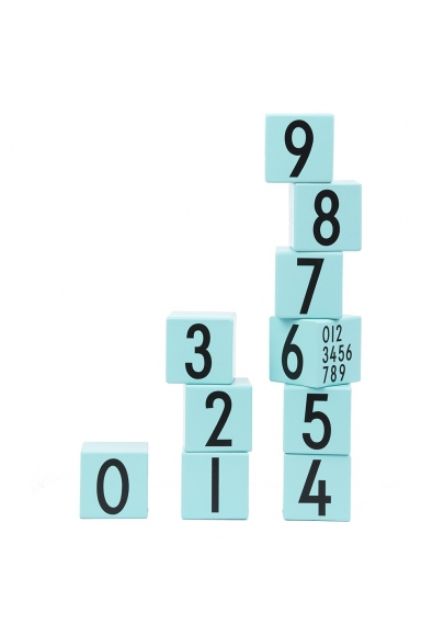 Wooden Cubes - Turquoise Numbers