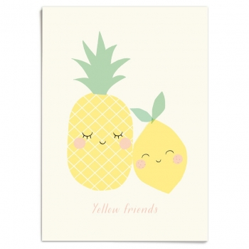 Yellow Friends Pineapple & Lemon Poster