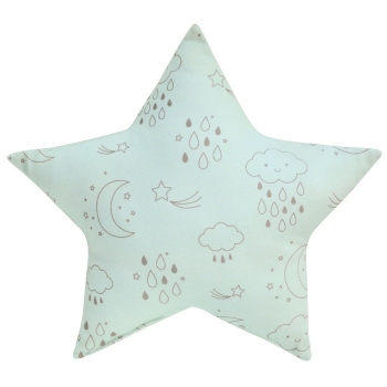 Blue Star Cushion - Moon & Stars