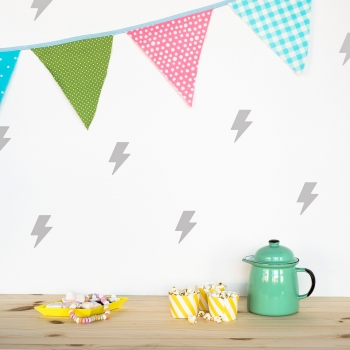 Silver Grey Lightning Wallstickers