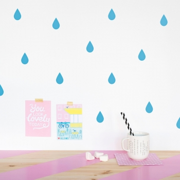Blue Raindrop Wallstickers