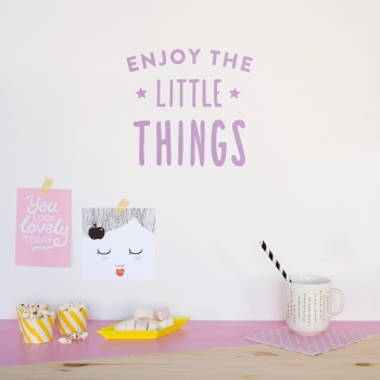 'Enjoy The Little Things' Lavender Quote - Wallsticker