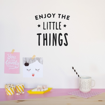'Enjoy The Little Things' Pink Quote - Wallsticker