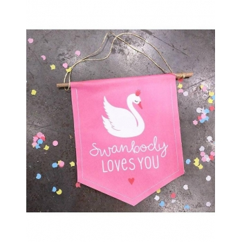 Swan mini wall flag