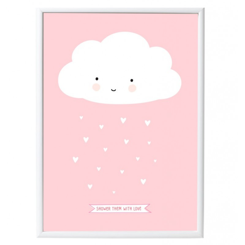 Pink cloud poster a little lovely company heylittlebaby for Decoration porte bebe