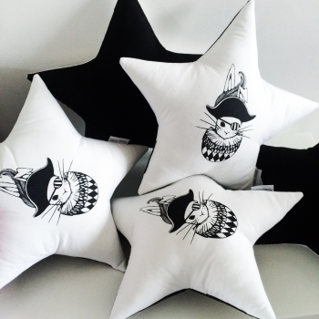 Tudor Bunny Star Cushion
