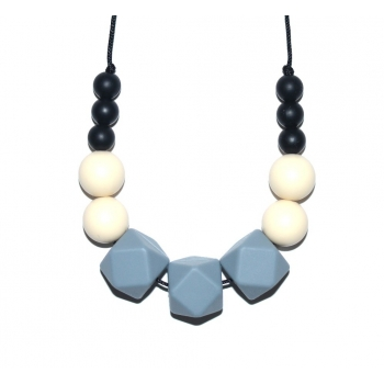 Grace - Black / Cream / Grey Hexagone Teething Necklace