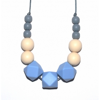 Joanna - Grey / Cream / Light Blue Hexagone Teething Necklace