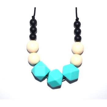 Zara - Black / Cream / Turquoise Hexagone Teething Necklace