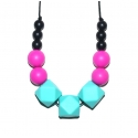 Amy - Black / Fuchsia / Turquoise Hexagone Teething Necklace