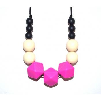 Evie - Black / Cream / Fuchsia Hexagone Teething Necklace
