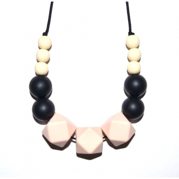 Honey - Cream / Black / Peach Hexagone Teething Necklace