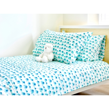 Turquoise Elephant Duvet (Single)