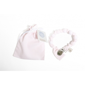 Pink Vichy Pacifier Holder
