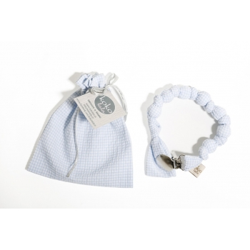 Light Blue Vichy Pacifier Holder