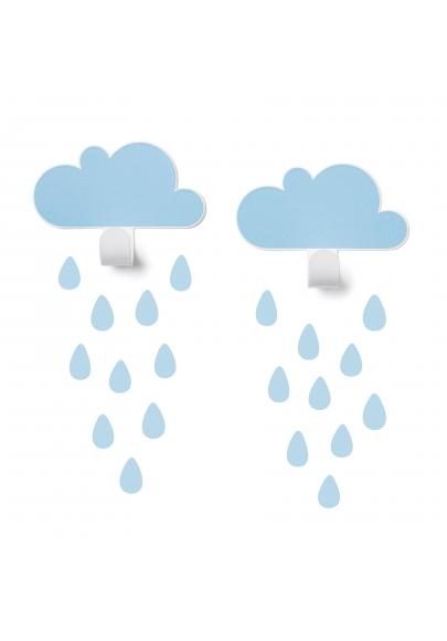 Blue Cloud Wall Hooks U0026 20 Rain Drop Stickers Part 64