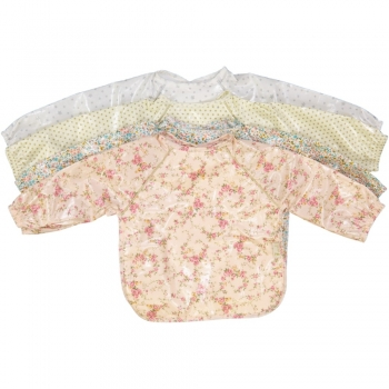 Floral Rose Coated Bib with Long Sleeves