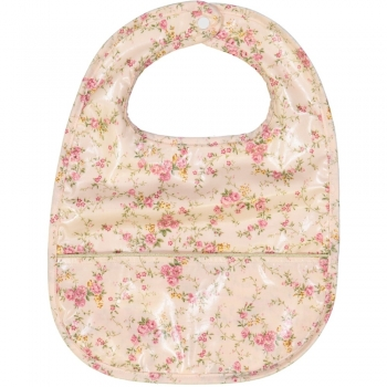 Floral Rose Coated Bib with Pouch