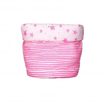 Neon Pink Stars & Stripes Medium Storage Basket