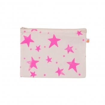 Neon Pink Stars Medium Pencil Case