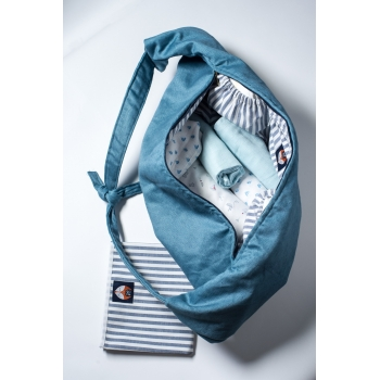 Indigo Blue Linen Cub Bag