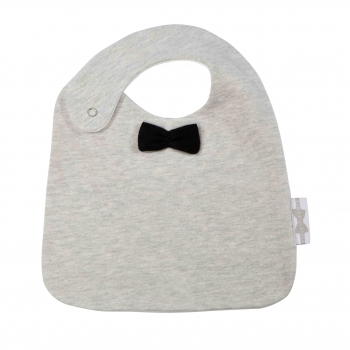 Stone Grey with Black Bow Tie Eating Bib