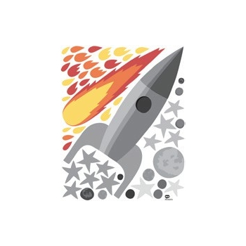 Grey Rocket Wall Sticker