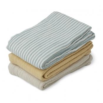 Sea Blue Stripes Muslin Cloths - Line - 3 pack
