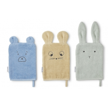 Sylvester Washcloth Mouse Dusty Mint Mix - 3 pack