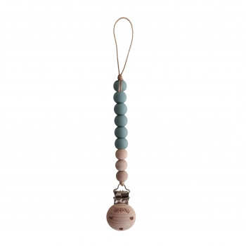 Pacifier Clip Cleo Powder Blue / Wood
