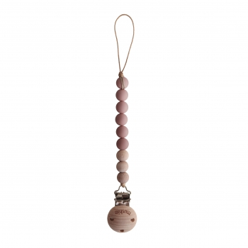 Pacifier Clip Cleo Powder Pink / Wood