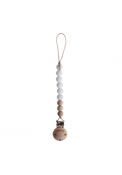 Pacifier Clip Cleo White / Wood