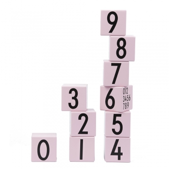 Wooden Building Cubes - Pink Numbers