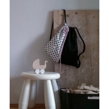 Black & white Backpack with Dots - Pink Strings