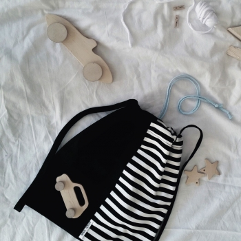 Black & White Backpack with Stripes - Blue Strings
