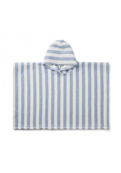 Sky Blue & Cream Stripes Paco Poncho
