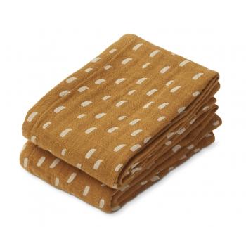 Graphic Stroke / Golden Caramel Lewis Muslin Cloth 2-pack