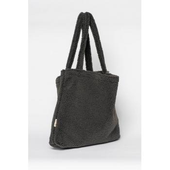 Dark Grey Chunky Teddy Mom-Bag