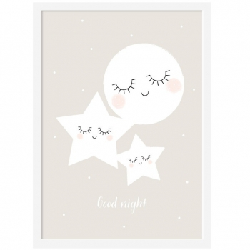 Good Night Moon & Stars Poster