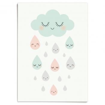 Douce Pluie - Cloud & Rain Drops Poster