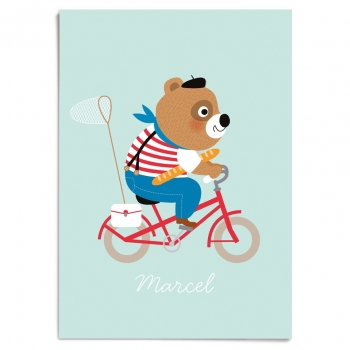 Marcel - Bicycle riding Bear Poster