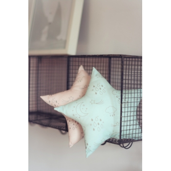 Blue Star Cushion - Moon & Stars