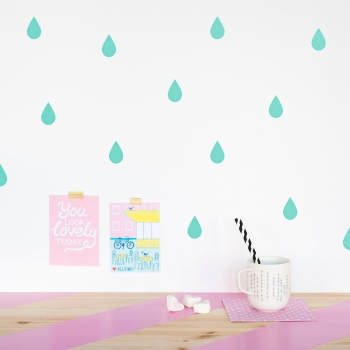 Mint Raindrop Wallstickers