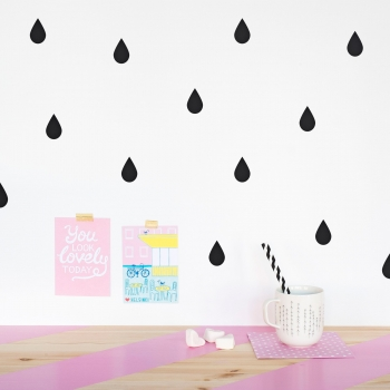 Black Raindrop Wallstickers