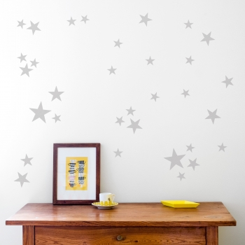 Silver Grey Star Wallstickers