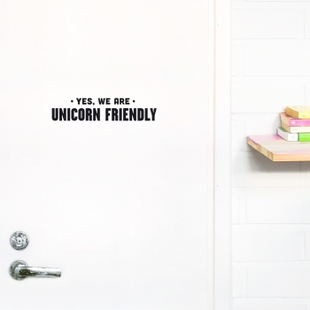 'Unicorn Friendly' Black Quote - Wallsticker