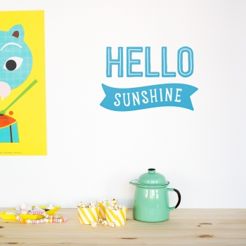 'Hello Sunshine' Blue Quote - Wallsticker
