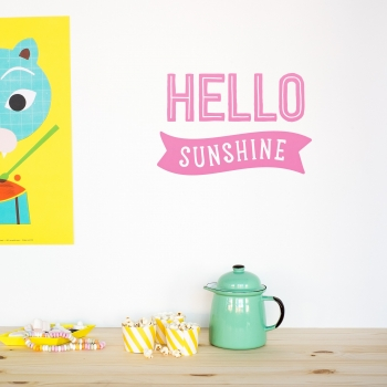 'Hello Sunshine' Pink Quote - Wallsticker