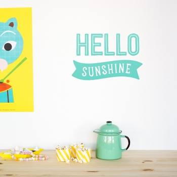 'Hello Sunshine' Mint Quote - Wallsticker